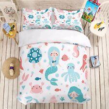 Cartoon Mermaid Girls Bedding Set Duvet Cover Comforter Cover Pillow Case