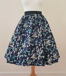 1950s Circle Skirt Jasmine Flower All Sizes - Floral Navy Blue Rockabilly Pin Up