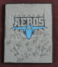 Houston Aeros Signed T-Shirt • 2002-2004 AHL Hockey Logo • Large • Crappy Frame