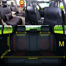 US 5-Seats Car Seat Cover Front +Rear Cushion W/Pillows PU Leather All Seasons