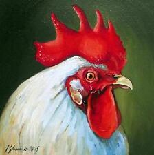 """Le coq blanc 2: superbe originale peinture à l'huile par Ilona glowacka 8 """"x 8"""""""