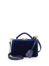 Mark Cross Grace Navy Velvet Mini Box Bag BNIB