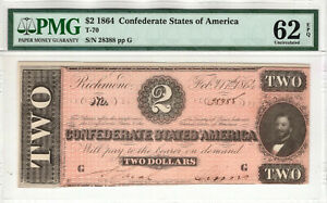 1864 $2 CONFEDERATE STATES OF AMERICA NOTE CURRENCY T-70 PMG UNCIRCULATED 62 EPQ