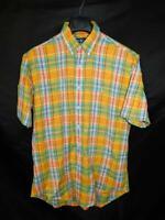 Ralph Lauren M Classic Fit Plaid Shirt Short Sleeve Orange Green Blue Button md