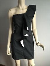 BNWT Womens Sz 12 Cocolatte Brand Smart Black/White Cocktail One Shoulder Dress