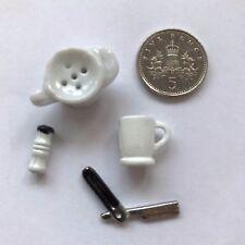 Échelle 1:12 de Rasage Brosse/Rasoir/Ensemble de tasses maison de poupées miniature, salle de bain Accessoire