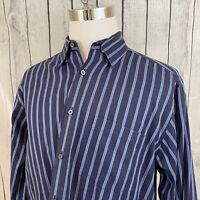 Bugatchi Uomo Long Sleeve Blue Striped Mens Long Sleeve Button Shirt Size XL