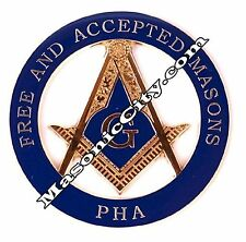 Z-16 Blue PHA Masonic Auto Emblem FreeMasonry Car Lodge Mason