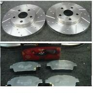 TOYOTA CELICA 1.8VVTI 140 1999-02 DRILLED GROOVED FRONT BRAKE DISC MINTEX PADS