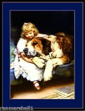 English Picture Print St. Saint Bernard Puppy Dog Girl Vintage Poster Art