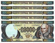 ECUADOR 20000 20,000 S 12-7-1999 UNC 5 PCS CONSECUTIVE LOT - AK - P 129