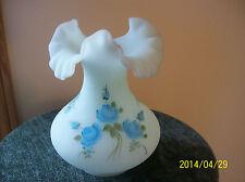 Satin Blue Rose Pattern Vintage Fenton Art Glass Ruffled Vase Signed BY Artist