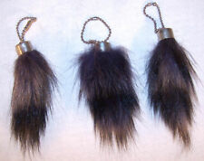 12 RACCOON TAIL KEYCHAIN SM racoon mountain man item wild animal tails key chain