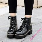 Womens Patent Leather Lace Up Block Heels Combat Punk Ankle Boots Solid Shoes Sz