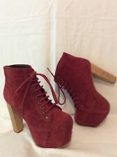 Jeffrey Campbell Maroon Ankle Suede Boots Size 4
