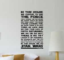 In This House We Do Star Wars Wall Decal Quote Vinyl Sticker Movie Poster 549
