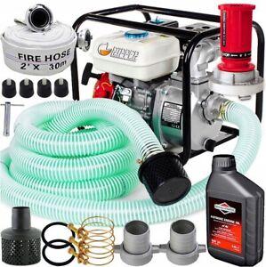 600l/min Benzin Wasserpumpe  6,5 PS Gartenpumpe SET Motor Pump 2'' + 2x Schlauch