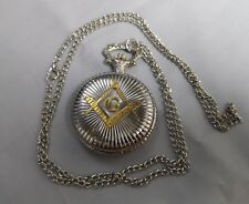 Masonic Silver & Gold Pocket Watch Secrets Society Club Rules Pendant Vintage UK