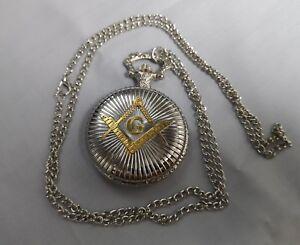 Masonic Silver & Gold Pocket Watch Secrets Society Club Rules Pendant Vintage UK