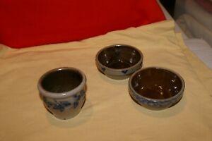 "LOT OF 3 PCS.Glazed Ceramic Stoneware Plant Tray Round 2 BOTTOMS(3""D)1 PLANTER"