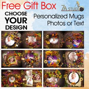 Custom Personalised Text Photo Vintage  Flower Templeat Tea Coffee Mug Cup Gift