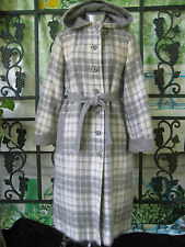 Vtg Pierre Cardin coat  hooded  belted Grey & Cream Plaid