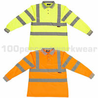 Warrior ORLANDO High Visibility Long Sleeve Polyester Polo Shirt Collar Hi Viz