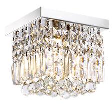 Modern Mini Crystal Chandelier Square Flush Mount Ceiling Light Fixture W8