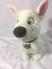 "Disney Store Sitting Bolt Stuffed Animal Plush White Dog Red Collar 13"" Plush"