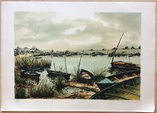Lithographie Barques En Attente Sur Le Marais De J.P.Laurent Beau Graphisme