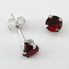 4mm Round GARNET RED Post Stud Earrings in SOLID 925 Sterling Silver - NEW!