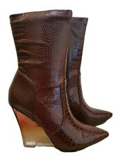 ASOS Expectations Wine Burgundy Croc Effect High Leg Wedge Boots RRP £45 size 5