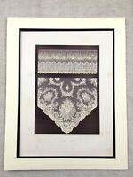 1862 Print Victorian Brussels Lace Belgian Textiles Antique Chromolithograph