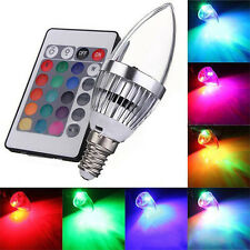 E14 3W RGB LED 16 Color Changing Candle Light Lamp Bulb + Remote Control Nice