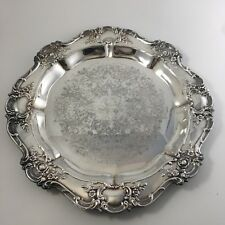 """Vintage Towle Old Master 15"""" Round Tea Service Tray Silverplate"""
