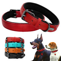 Genuine Leather Dog Collars Soft Padded for Small Large Dog Red Black Brown Blue