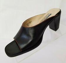 Joan & David Circa Open Toe Mule Heels Womens Black Leather Slip On Shoes Sz 7M