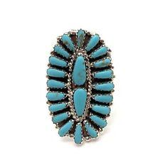 Navajo Handmade Sterling Silver Turquoise Cluster Ring Size 8 - Pamela Benally