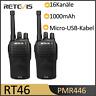 2*PMR446 Retevis RT46 Hand-Funkgeräte Walkie-Talkies CTCSS/DCS-Funktion UHF 16CH