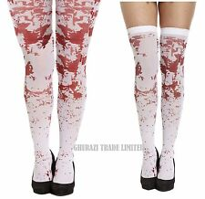 White Blood Stained Zombie Halloween Stripey Holds Up Stockings & stained Tights