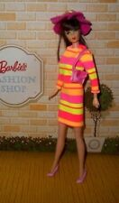 OOAK Japanese inspired MOD Neon striped Barbie dress with hat, and purse