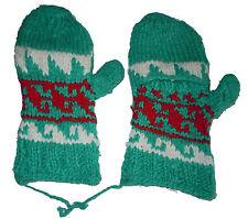 Winter GLITTEN - Teal Red Handmade Natural Pakistani Wool - Flap Glove Mitten B3