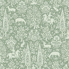 Crown M1167 Sage Green White Woodland Wallpaper Forest Animals Deer Horse Floral
