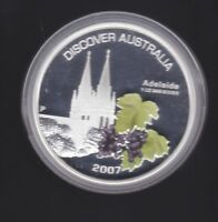 2007 Discover Australia 1 oz ounce  Silver Proof Coin Adelaide CERTIFICATE 5764