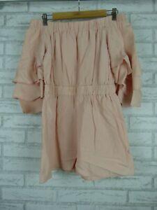 Seed Heritage Playsuit Off-shoulder Pink Flutter sleeves Sz S, 10 jc12