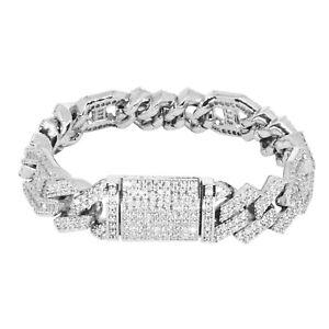 Iced Cuban Out Prong VVS Diamond Baguette Bracelet 14mm 18K White Gold Plated