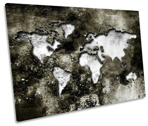 Map of the World Distressed Picture SINGLE CANVAS WALL ART Print Grey