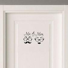 Cute Mr & Mrs Mustache Couple Love Door Sticker Wedding Decal Bedroom Decoration