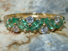 9ct Yellow Gold Natural Emerald & CZ Womens Eternity Ring - Sizes J to Z
