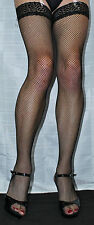 Medium Size Black Lace Top Fine Fishnet Stockings Suspender Friendly Top